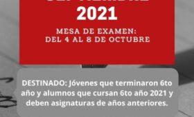 Exámenes Especiales para Septiembre de 2021